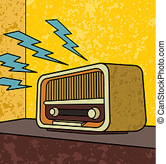 Vintage Radio - Vintage radio pop art illustration.