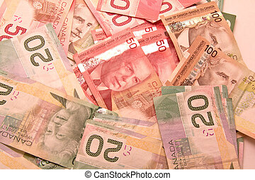 Canadian dollar notes - A lot of twenty, fifty and hunder...