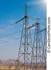 high voltage electricity power towers