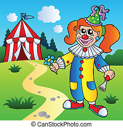 Cartoon clown girl with circus tent - vector illustration