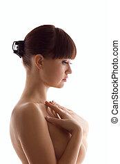 Beauty nude woman close breast - Beauty nude woman portrait...