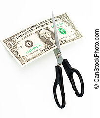 Scissors cuts one american dollar note