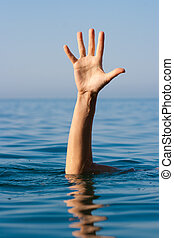 solo, mano, ahogo, hombre, mar, preguntar, ayuda