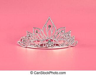 tiara, o, diadema, rosa, Plano de fondo