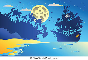 Night seascape with pirate ship 2 - vector illustration