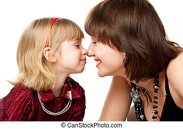 Happy mother and daughter playing isolated on white