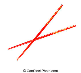 Pair of red chopsticks isolated on white background