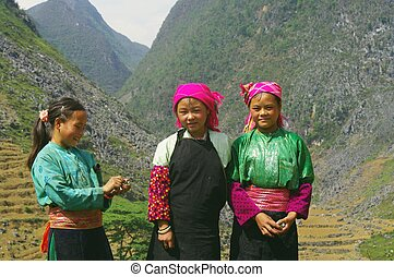 Three white Hmong girls sisters - Three sisters ethnic Hmong...