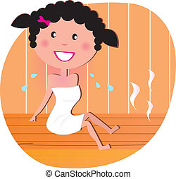 Happy woman in sauna - Woman in white towel Spending Time In...