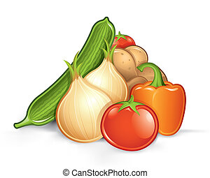 Pile of vegetables - Vector illustration of various...