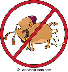 dog stop - illustration of the prohibitory sign about the...