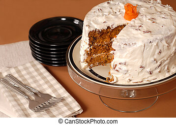 Whole carrot cake with cream cheese and pecan frosting - A...