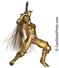 Golden Female Fantasy Warrior - 2 - Female fantasy warrior...