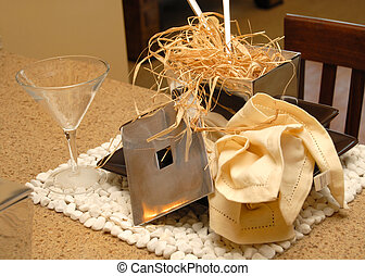 Table placesetting with napkin and straw - Table...