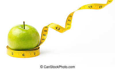 Green apple and leaving centimeters - Green apple and...