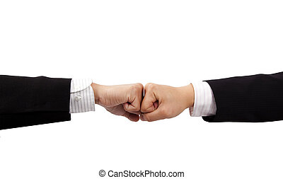 two fists of business man hand isolated on white background