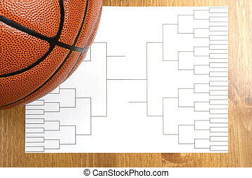 Basketball Tournament Bracket and Basketball - A blank...