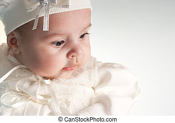 poco, lindo, baby-girl, blanco, Traje, retrato