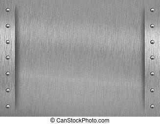 aluminio, textura, frontera, remaches