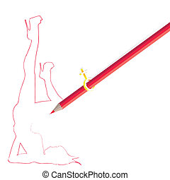 Pencil drawing woman figure on white background,line art...