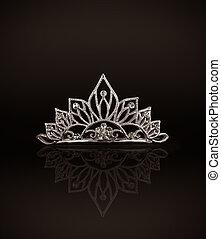 tiara, o, diadema, reflexión, Oscuridad, Plano de...
