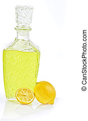 Limoncello - the typical Italian liquor extracted from the...