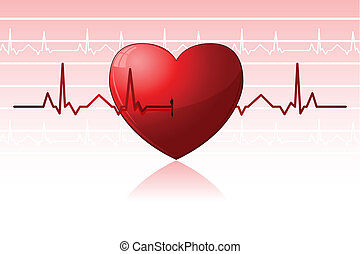 Heart Beats - illustration of heart beats crossing heart on...