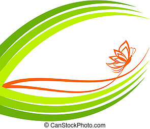 vector illustration of a green waves with butterfly
