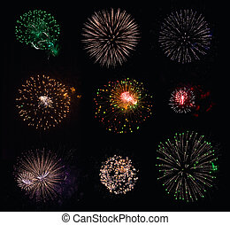 9 isolated fireworks explosions on black background