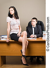 Boss and him secretary - Young businessmen and woman -...