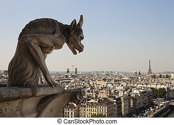 Horned Gargoyle With Eiffel Tower - Stone gargoyle with...