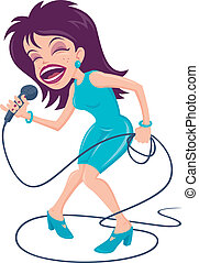Female Pop Singer - Vector cartoon illustration of a female...