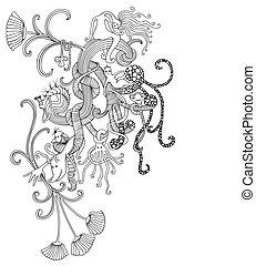 Fantasy doodle - Unique and decorative piece of fantasy...