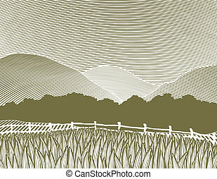 Woodcut Country Scene