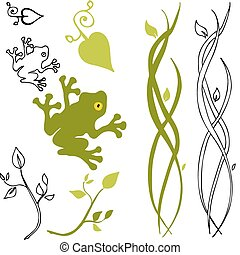 Nature Design Elements - An image of a frog, leaf and stem...