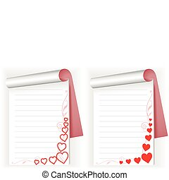 two notebook with hearts