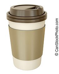 Coffee cup with lid. 3D render.