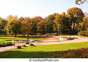 Castle Park in Chemnitz in Germany in autumn, colorful...