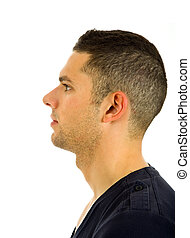 profile - young casual man profile, isolated on white...