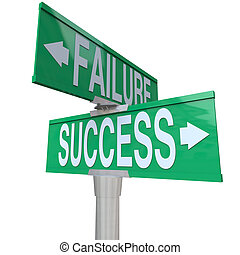 A green two-way street sign pointing to Success and Failure,...