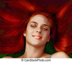 illustration of young woman with red hair