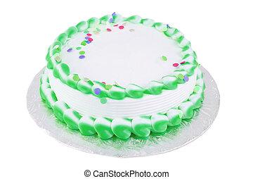 torta, bianco, vuoto, verde, festivo