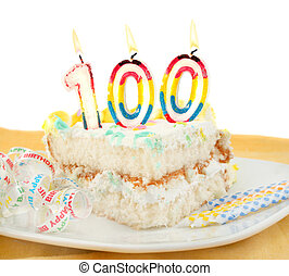 100 year birthday or anniversary cake - Slice of frosted...