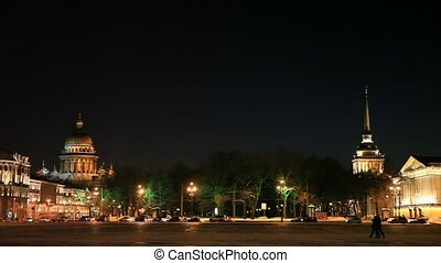 Winter night in center of St. Petersburg, Russia. 1080p....