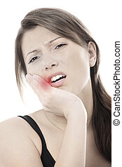 Toothache - A picture of a young woman with a terrible...