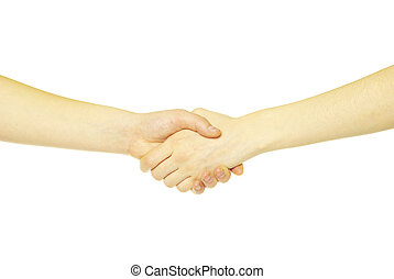 hands - closeup of two men shaking hands isolated over white...