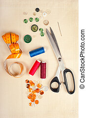 Sewing supplies. Set from measuring tape, buttons, bobbins...