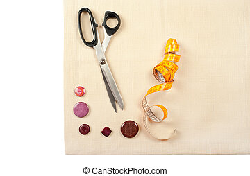 Sewing supplies. Set from measuring tape, buttons and...