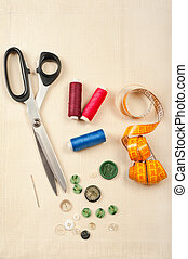 Sewing supplies Set from measuring tape, buttons, bobbins of...
