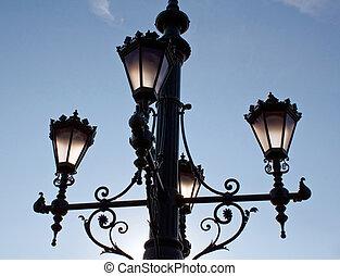Old lantern - Old beautiful lantern in Budapest at sunrise